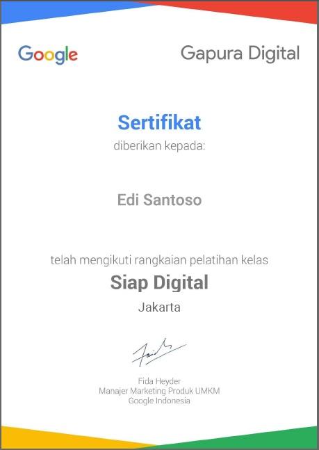Sertifikat Gapura Digital Edi Santoso