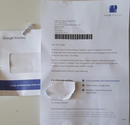 Surat Google BisnisKu-Kode Verifikasi