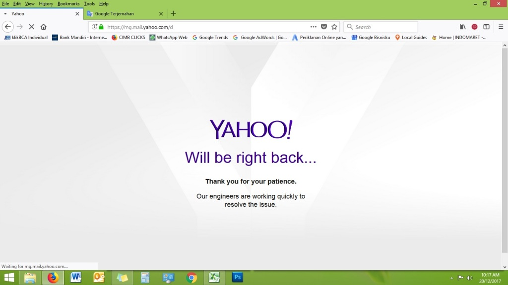 Yahoo Mail Down